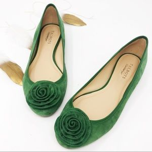 Talbots Green Leather Rosette Flats Size 9